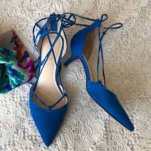 Nine West royal blue lace up heels